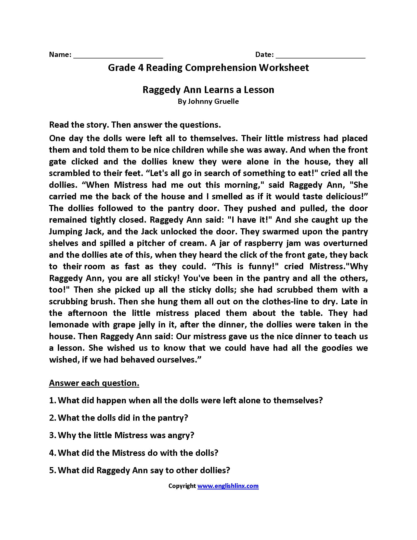 Reading Worksheets  Fourth Grade Reading Worksheets For 4Th Grade Reading Worksheets