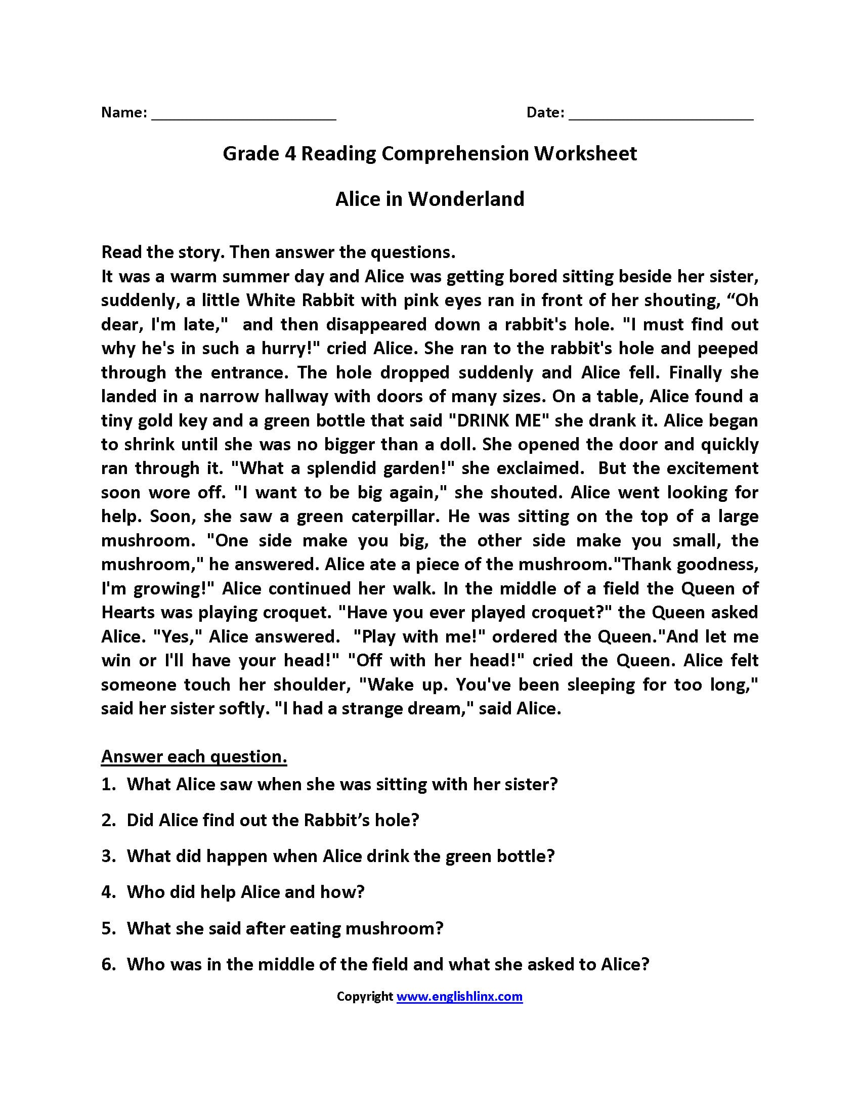 Reading Worksheets  Fourth Grade Reading Worksheets In 4Th Grade Reading Worksheets