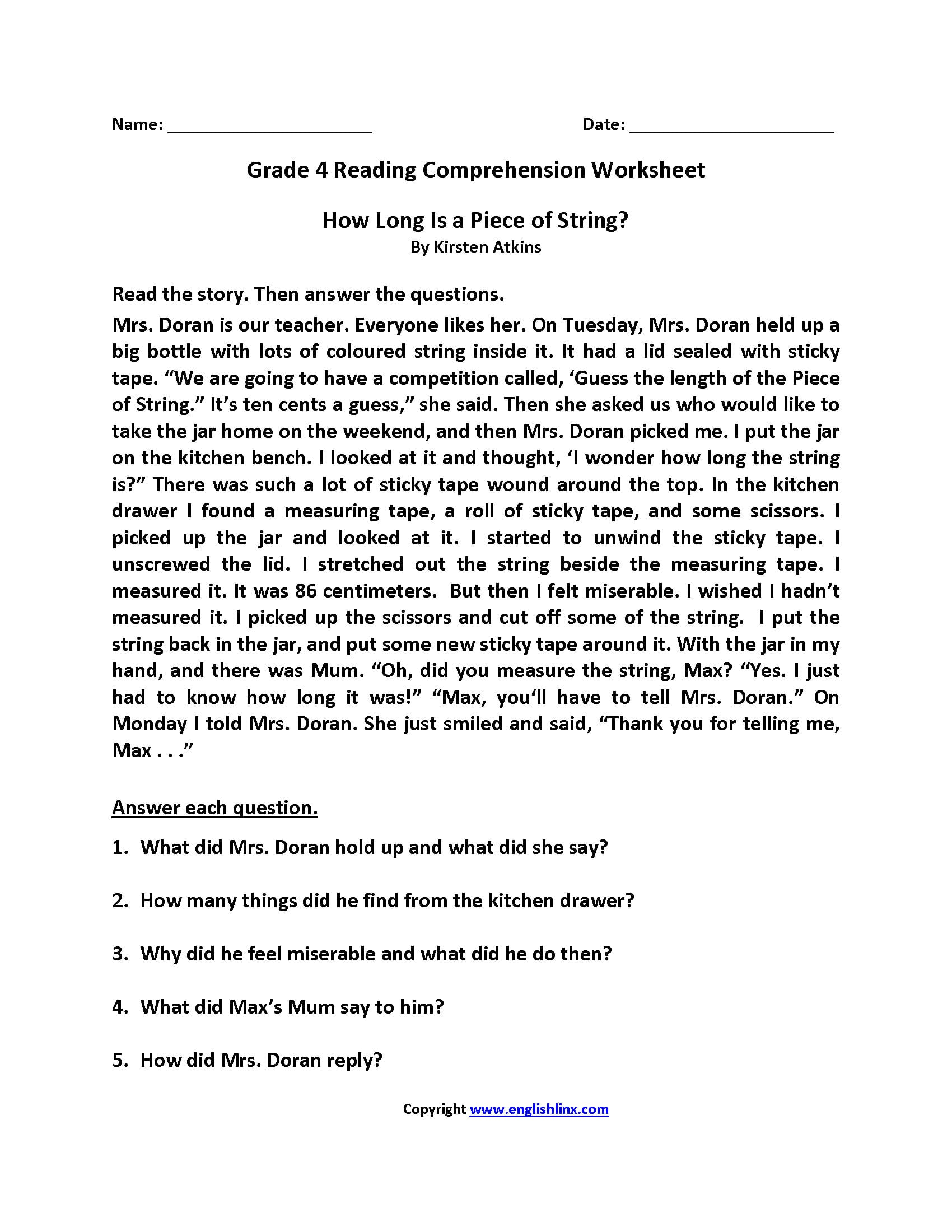 Reading Worksheets  Fourth Grade Reading Worksheets Within 4Th Grade Reading Worksheets