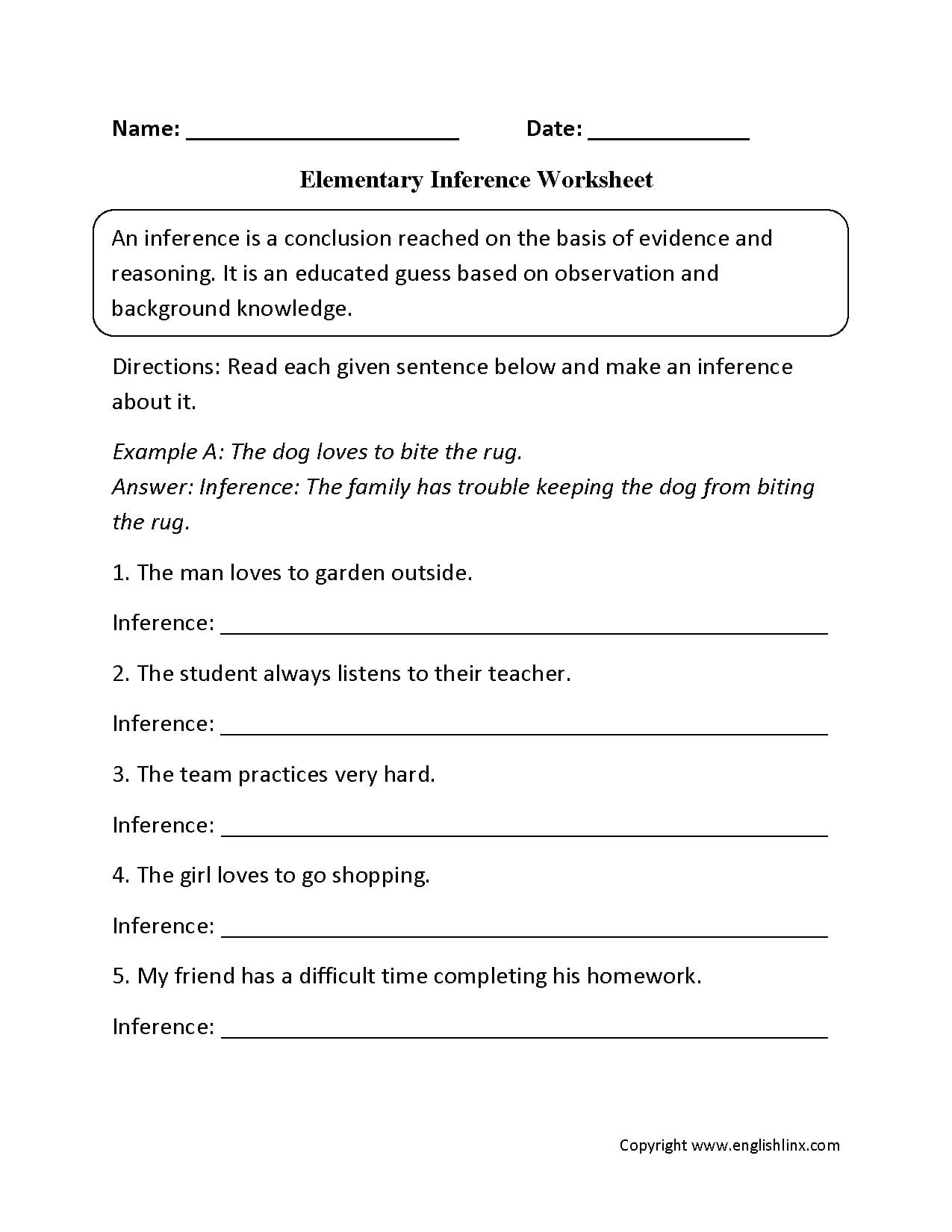 Reading Worksheets  Inference Worksheets Together With Inferences Worksheet 5