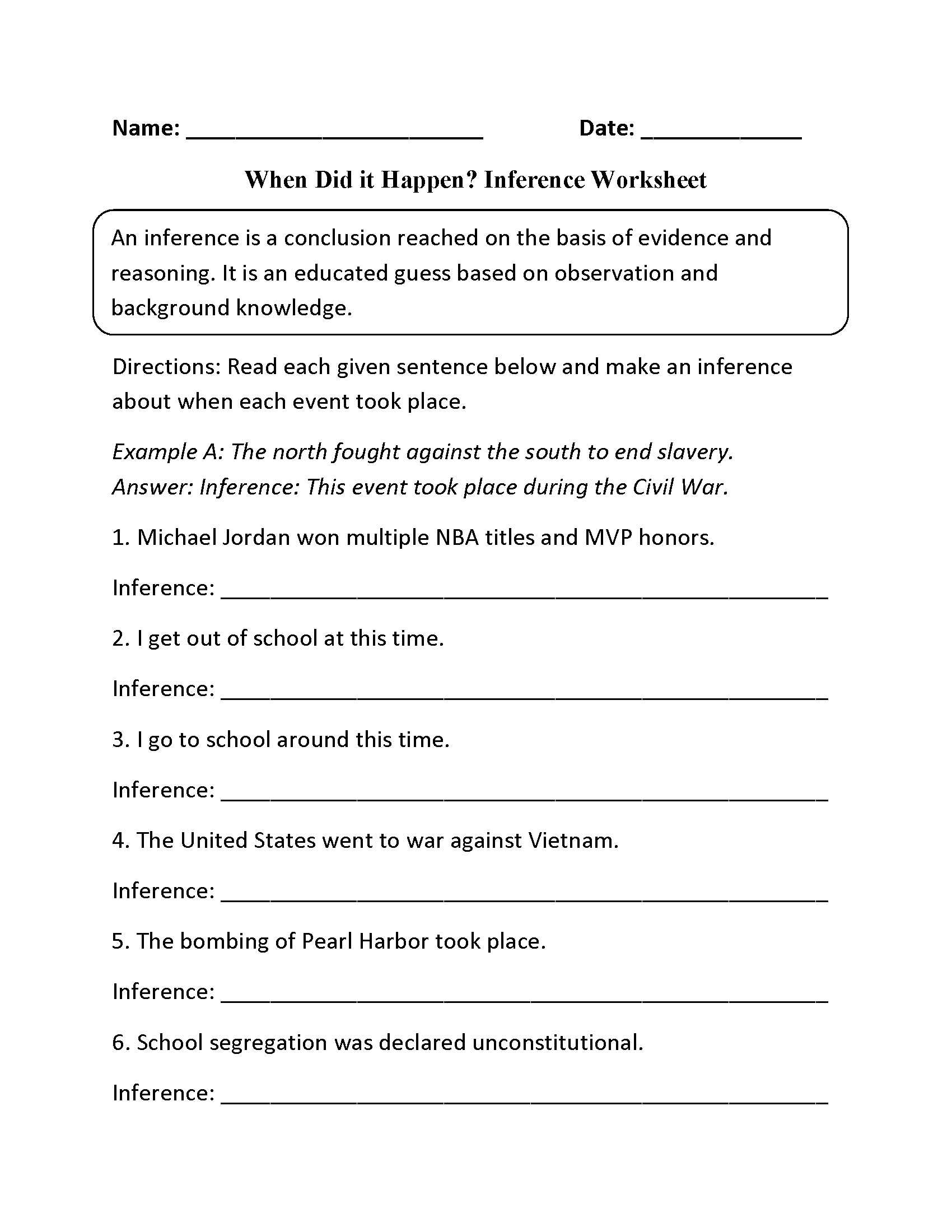 Reading Worksheets  Inference Worksheets With Regard To Inferences Worksheet 4