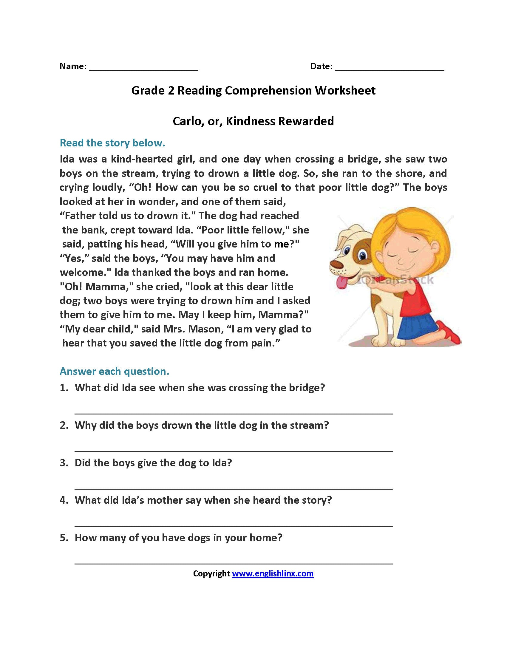 Reading Worksheets  Second Grade Reading Worksheets Along With Comprehension Worksheets With Questions