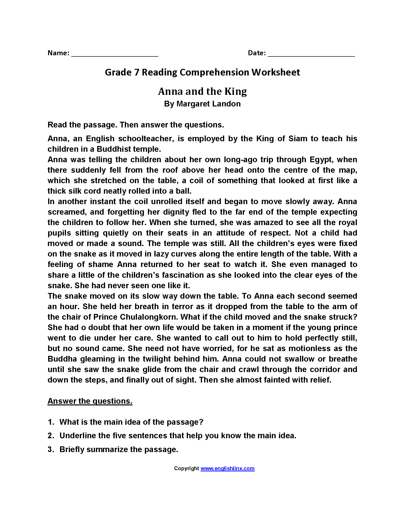 Reading Worksheets  Seventh Grade Reading Worksheets In Reading Comprehension Worksheets 7Th Grade