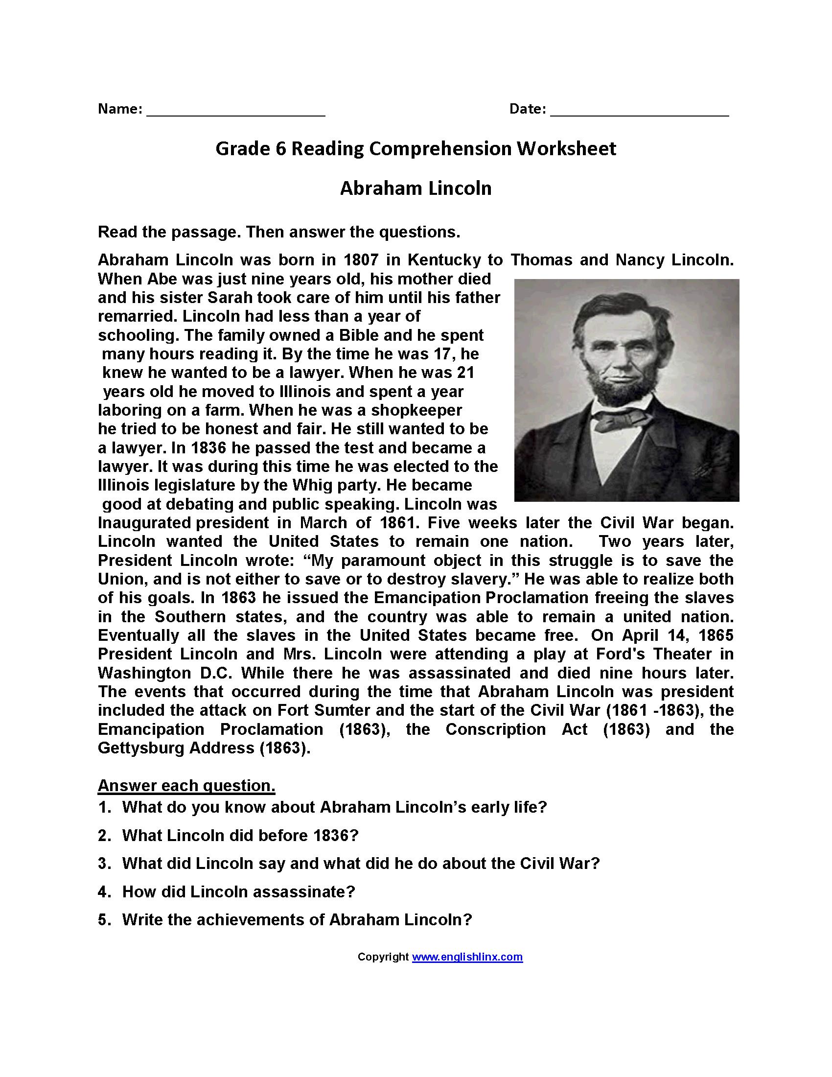 Reading Worksheets  Sixth Grade Reading Worksheets Inside Abraham Lincoln Comprehension Worksheet