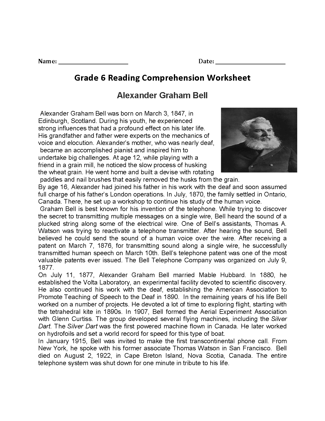 Reading Worksheets  Sixth Grade Reading Worksheets With Regard To Abraham Lincoln Comprehension Worksheet