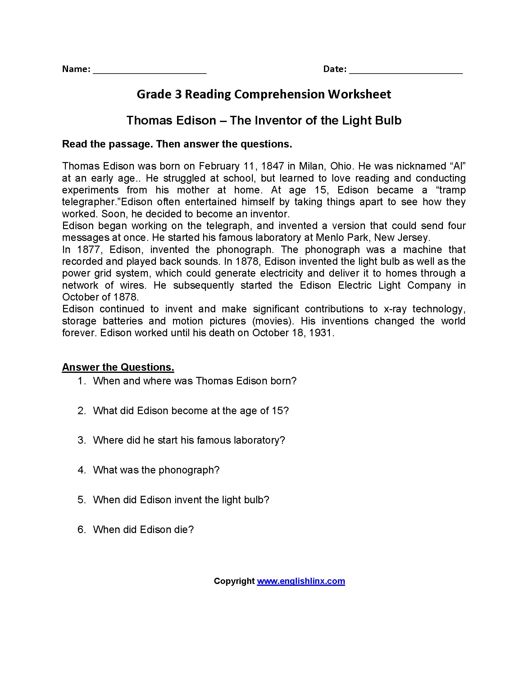 Reading Worksheets  Third Grade Reading Worksheets Inside 3Rd Grade Reading Worksheets Pdf