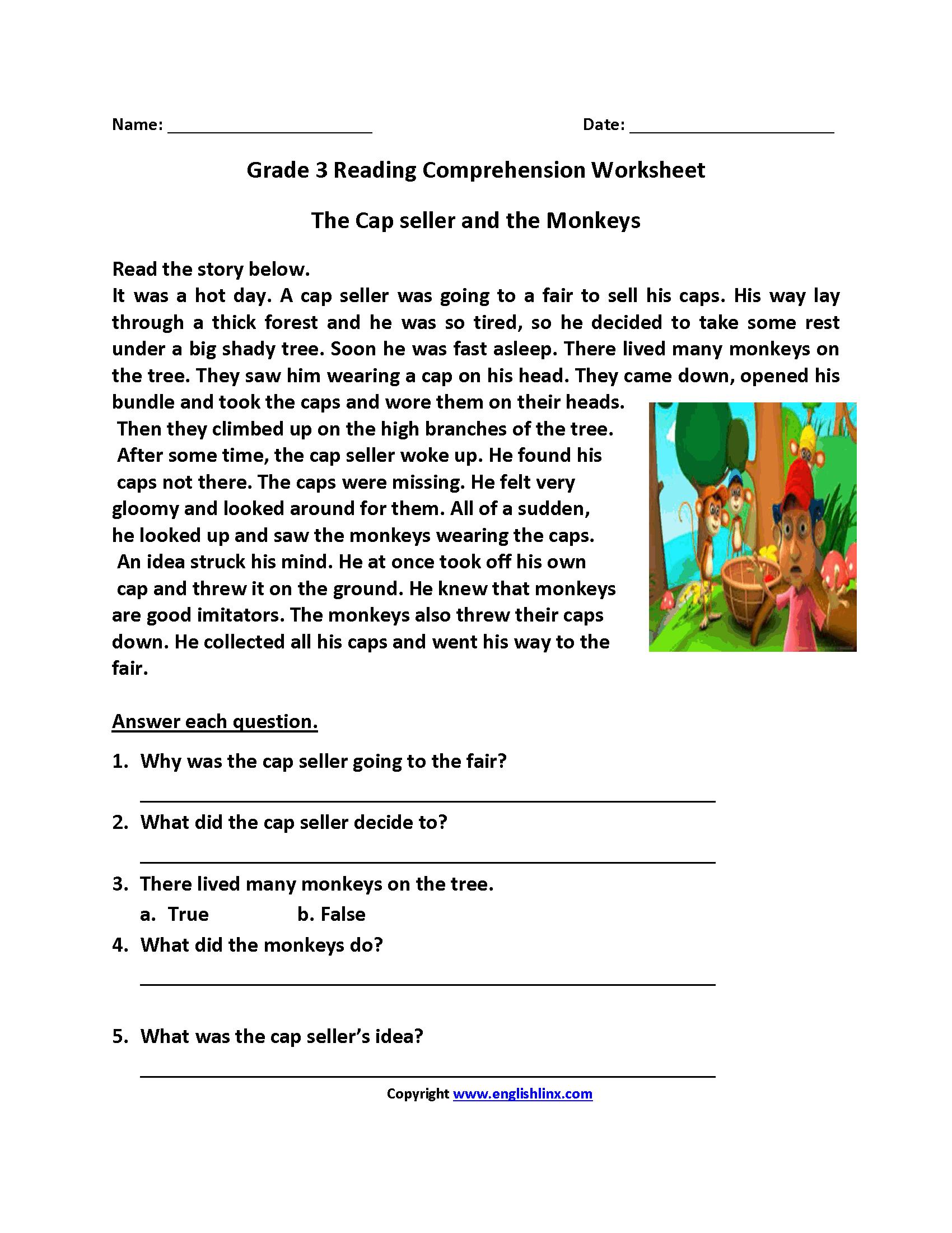Reading Worksheets  Third Grade Reading Worksheets Intended For Printable Comprehension Worksheets For Grade 3