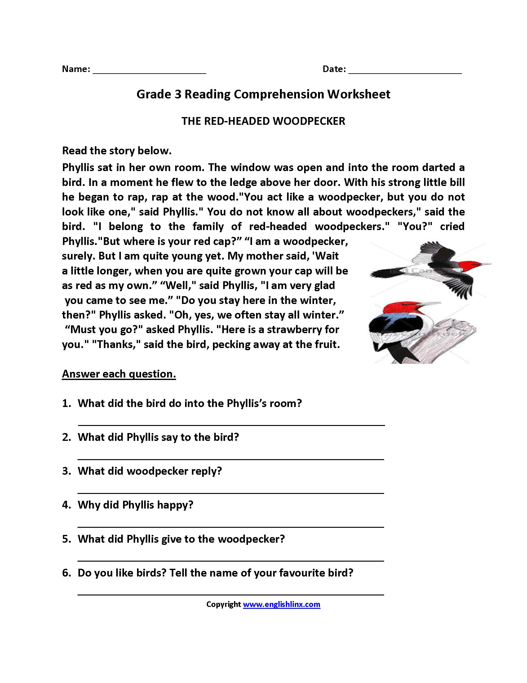 Reading Worksheets  Third Grade Reading Worksheets Or 3Rd Grade Comprehension Worksheets