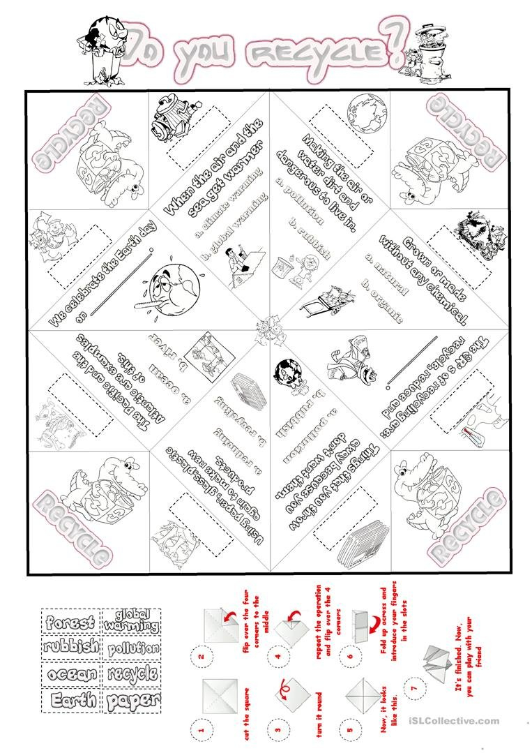 Recycle And Nature Cootie Catcher Worksheet  Free Esl Printable In Recycling Worksheets For Elementary Students