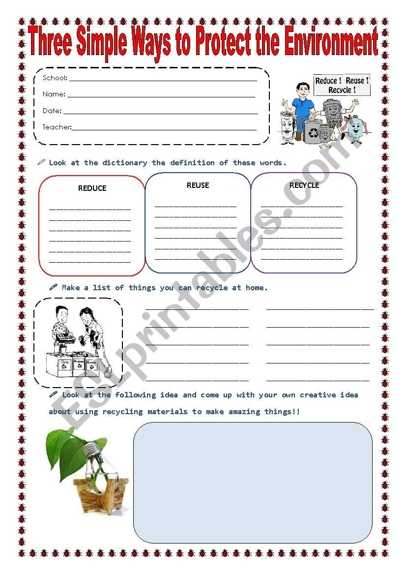 Reduce Reuse And Recycle  Esl Worksheetsonyta04 And Recycling Worksheets For Elementary Students