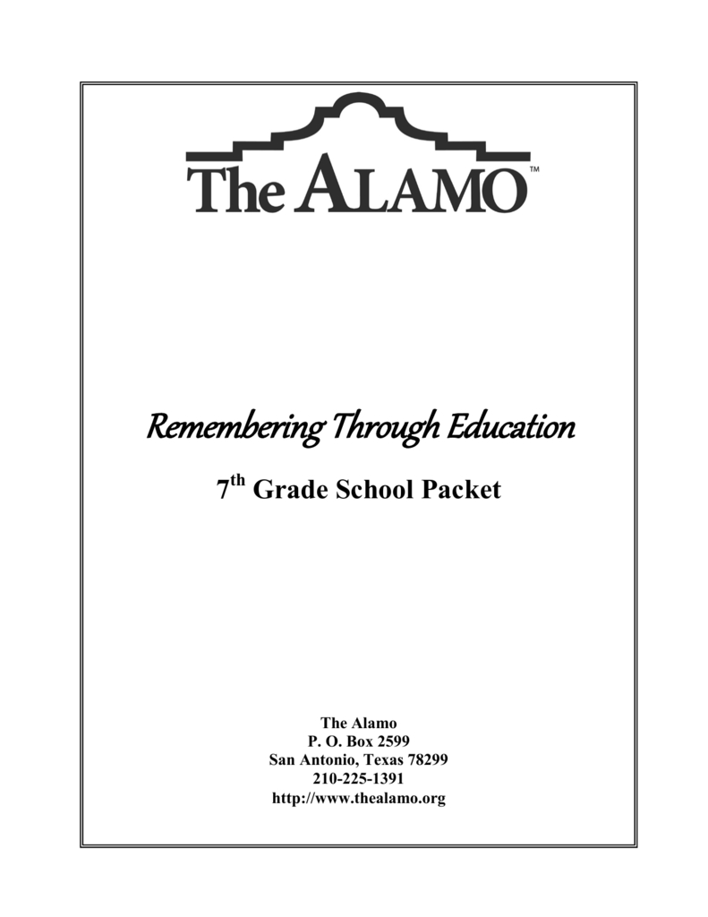 Remembering Through Education Within The Alamo Worksheet Answers