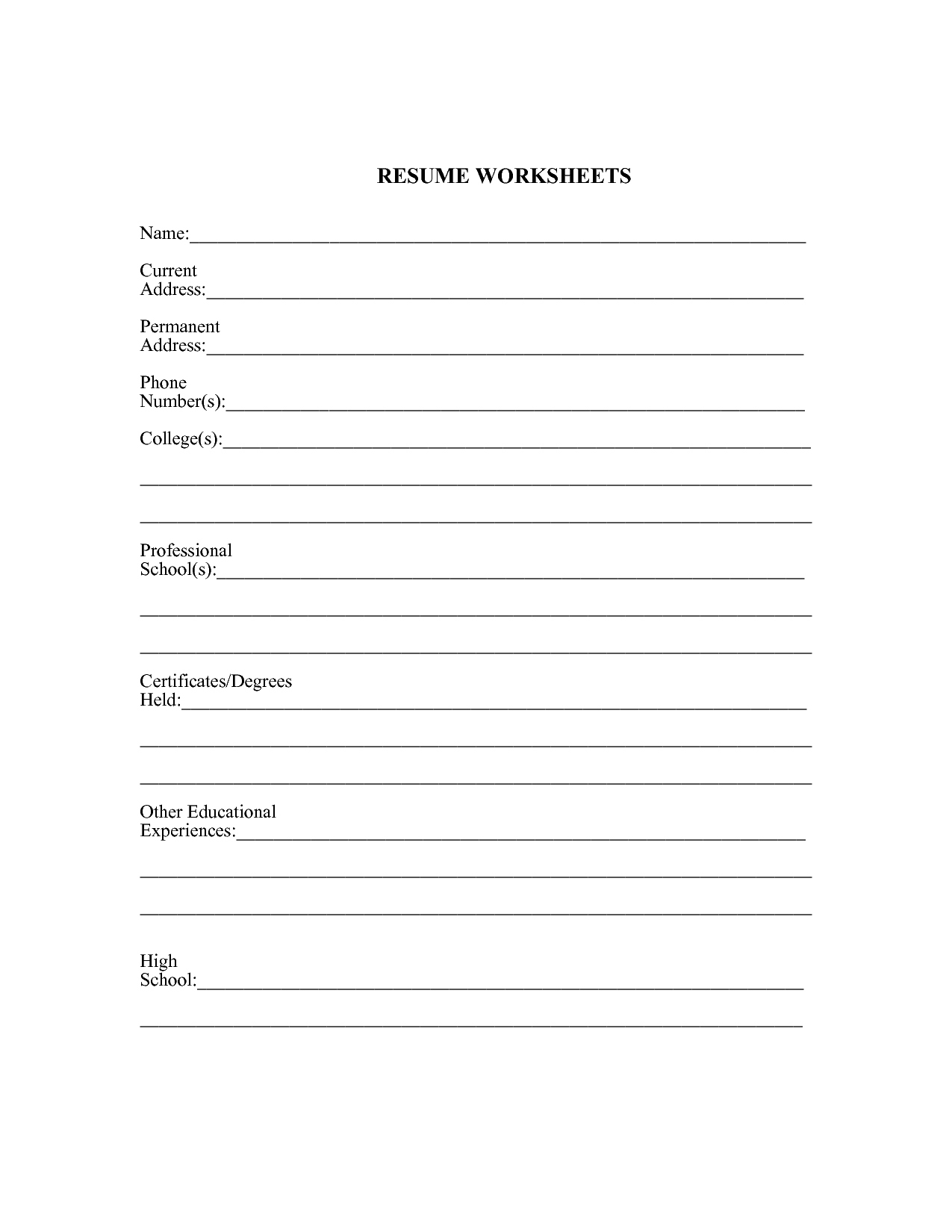 Resume Worksheet For High School Students  Jwritings Regarding Resume Worksheet For Middle School Students