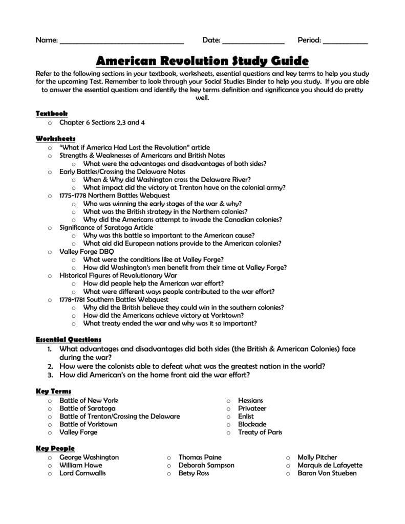 Revolutionary War Test Review Sheet In American Revolution Worksheets