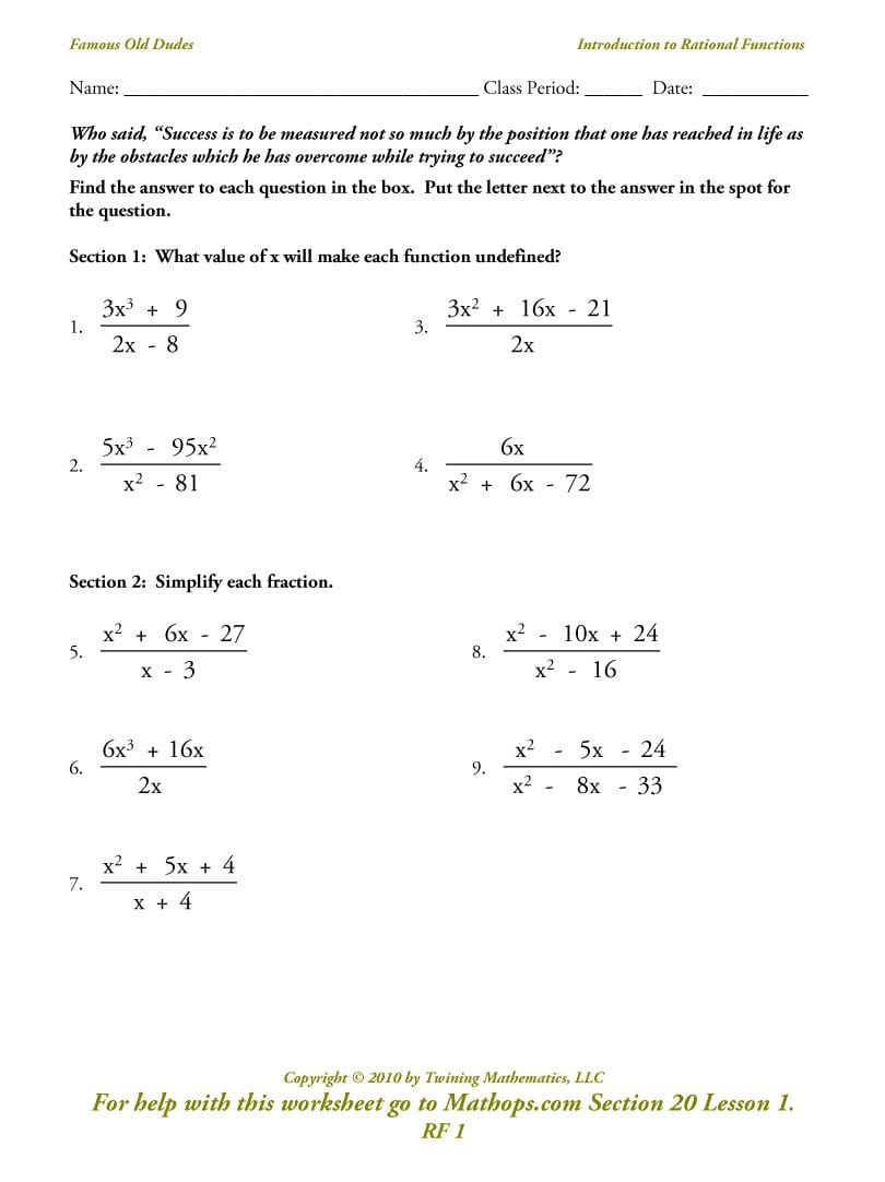 Rf 1 Introduction To Rational Functions  Mathops Also Rational Functions Worksheet