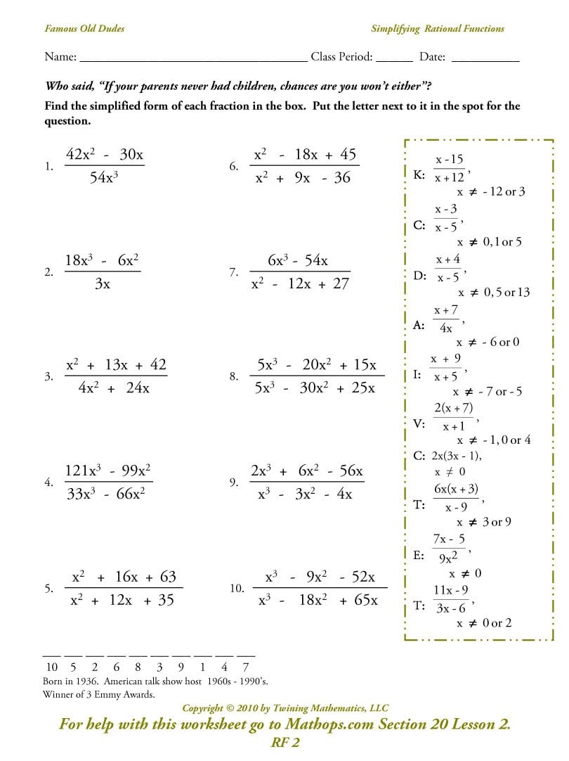 Rf 2 Simplifying Rational Functions  Mathops Throughout Rational Functions Worksheet