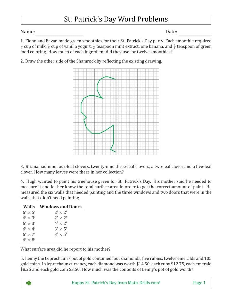 Saint Patrick's Day Math Word Problems  Multistep  Middle School Inside Middle School Math Worksheets