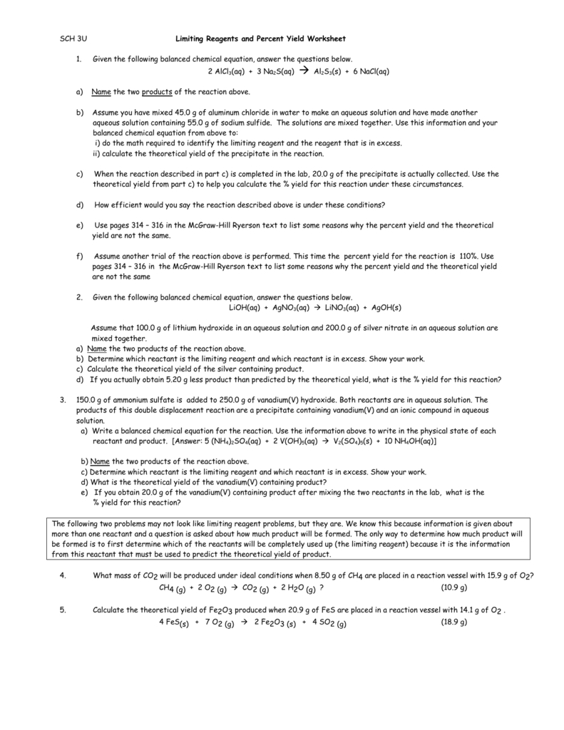 Sch 3U Limiting Reagents And Percent Yield Worksheet Given The Regarding Limiting Reactant And Percent Yield Worksheet Answer Key