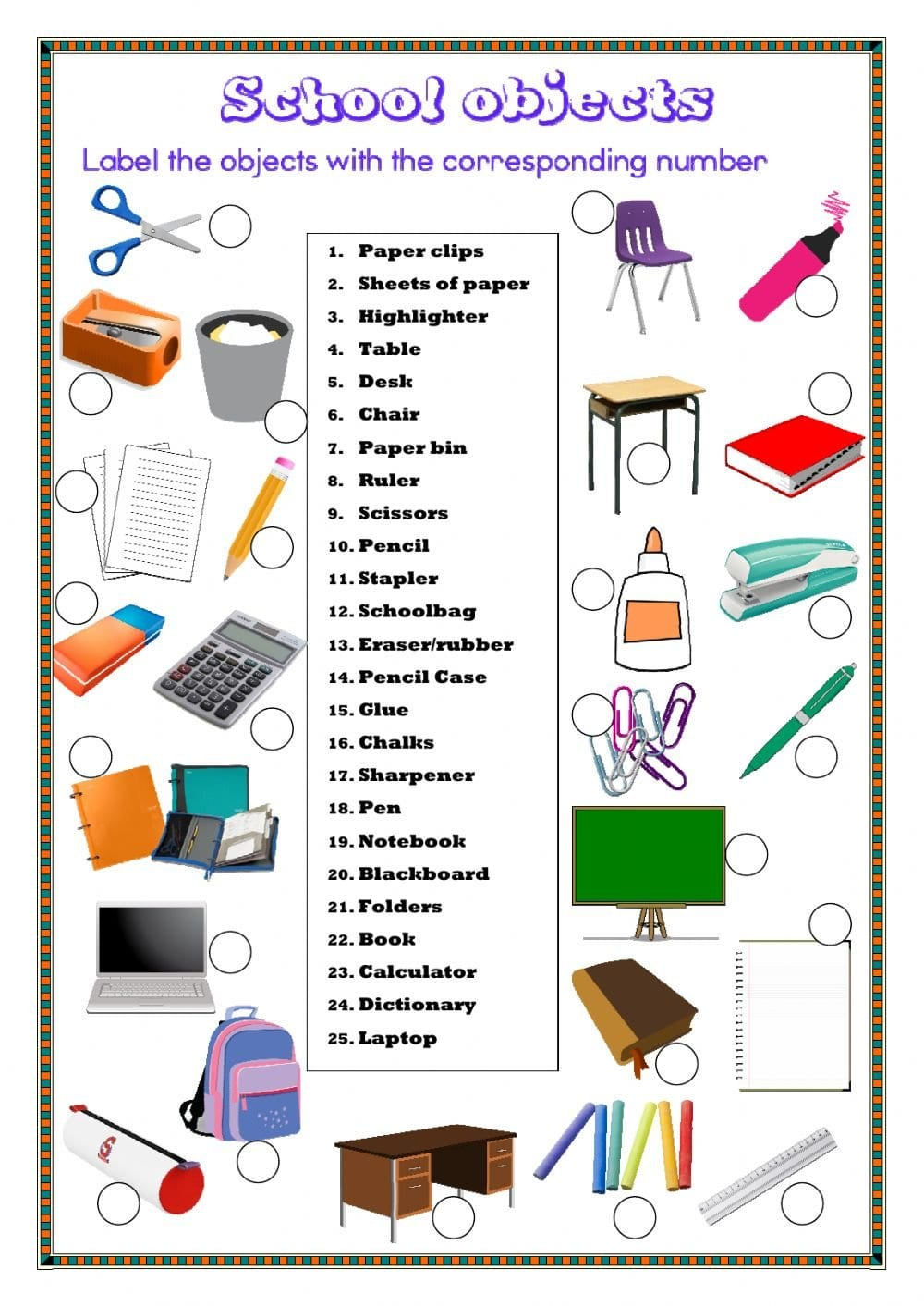 School Objects Interactive Worksheet Intended For Label School Supplies Worksheet