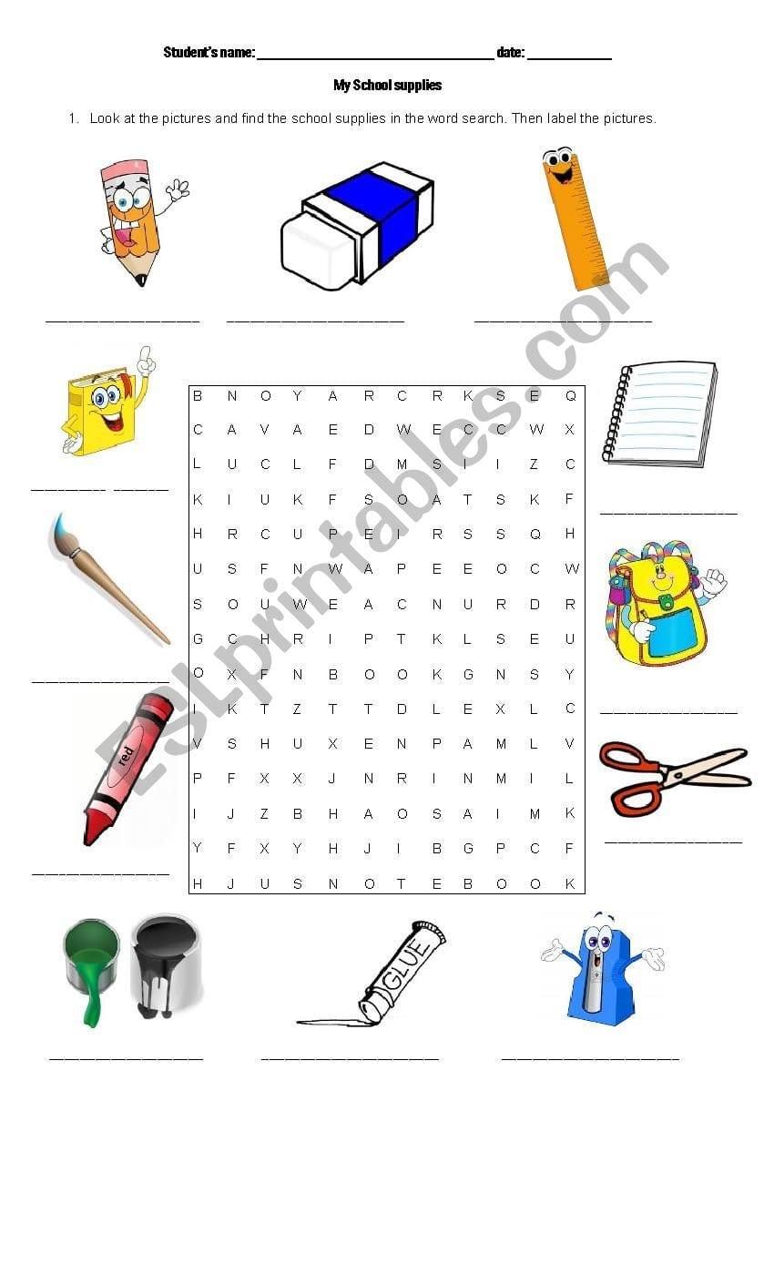 School Supplies  Esl Worksheetsijorumo In Label School Supplies Worksheet