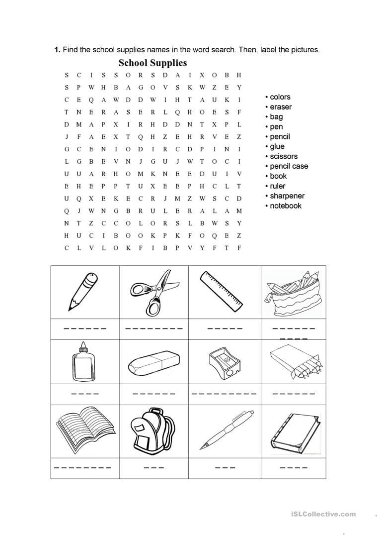 School Supplies Worksheet  Free Esl Printable Worksheets Made Together With Label School Supplies Worksheet