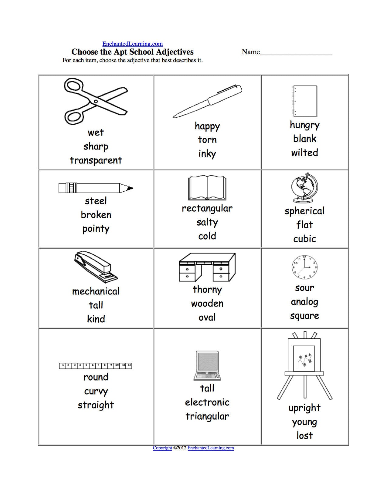 School Theme Page At Enchantedlearning Throughout Label School Supplies Worksheet