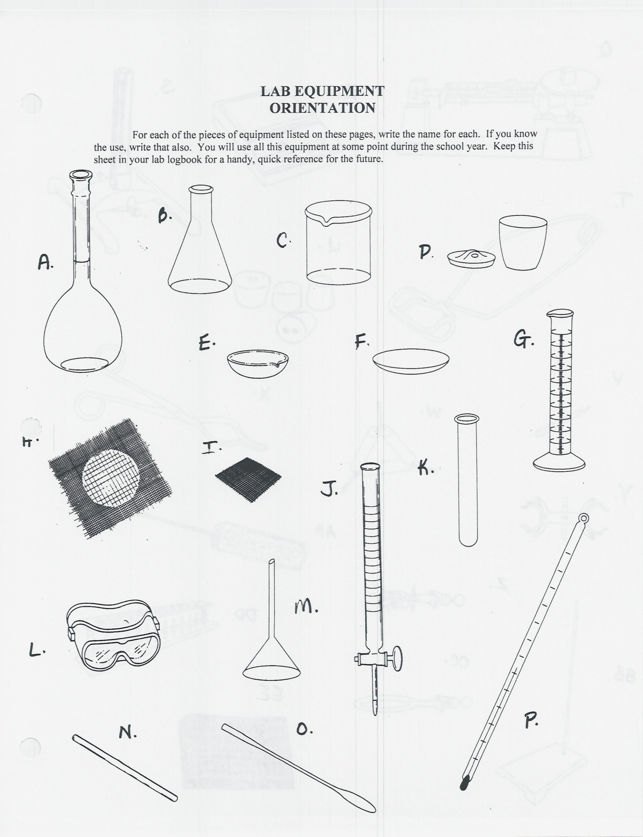 Science Equipment Drawings At Paintingvalley  Explore Throughout Lab Equipment Worksheet
