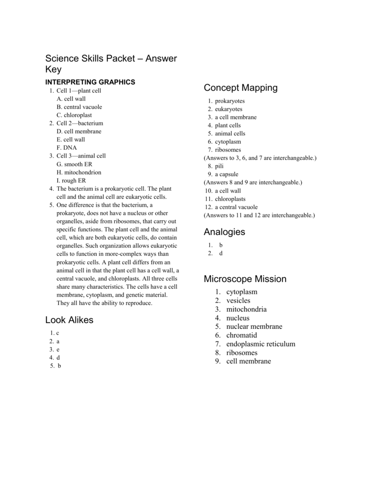 Science Skills Packet – Answer Key With Regard To Science Skills Worksheet Answer Key