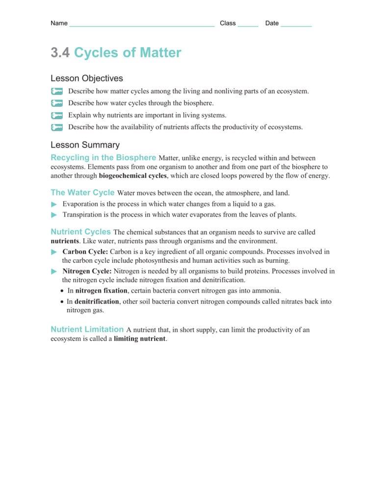 Section 34 Worksheetmodifiedwanswers For Biogeochemical Cycles Worksheet Answer Key