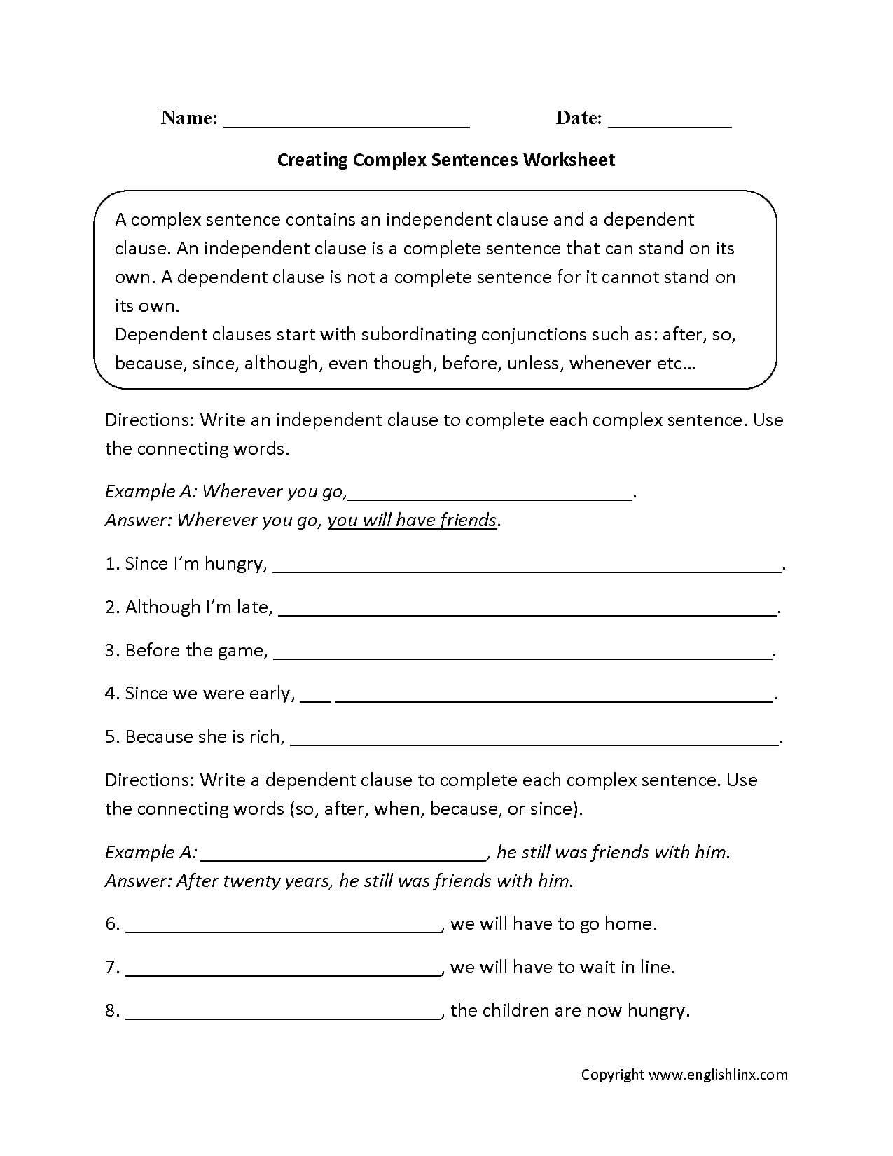 Sentences Worksheets  Complex Sentences Worksheets Together With Compound And Complex Sentences Worksheet