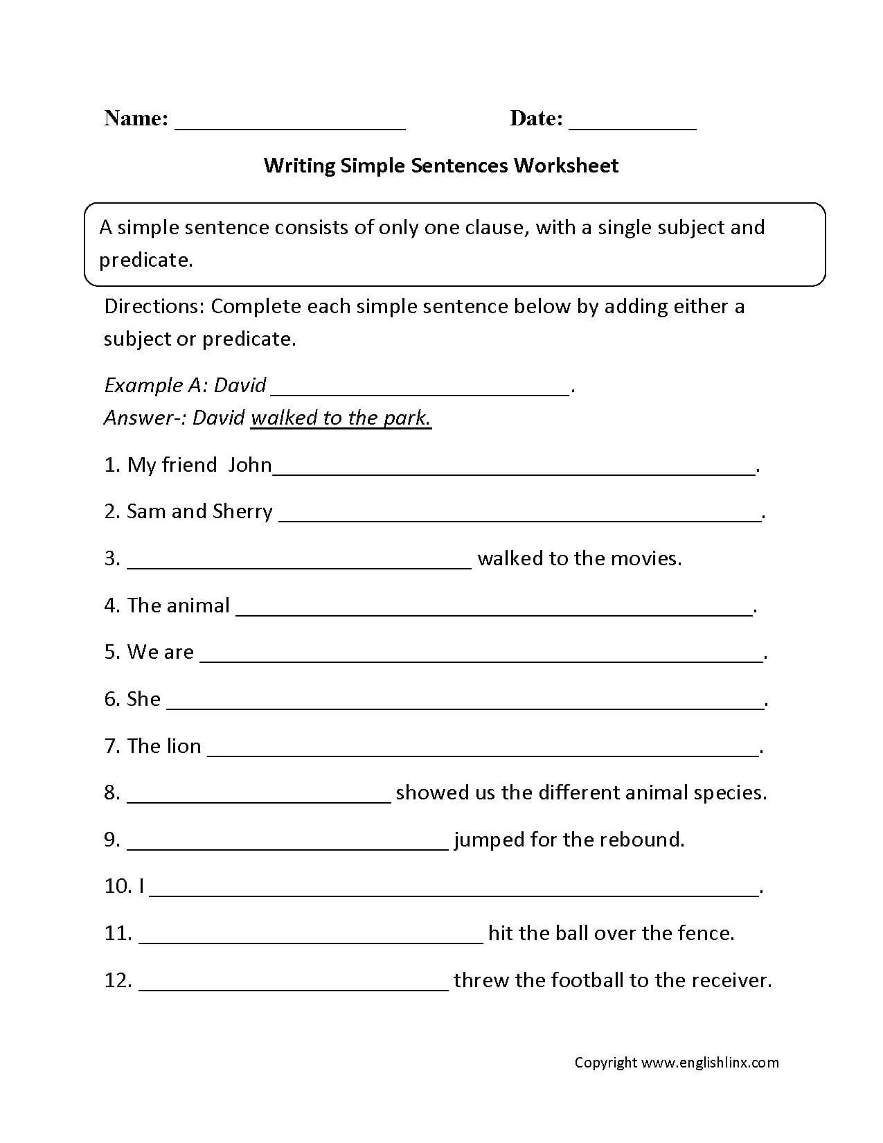 Sentences Worksheets  Simple Sentences Worksheets Also Writing Sentences Worksheets