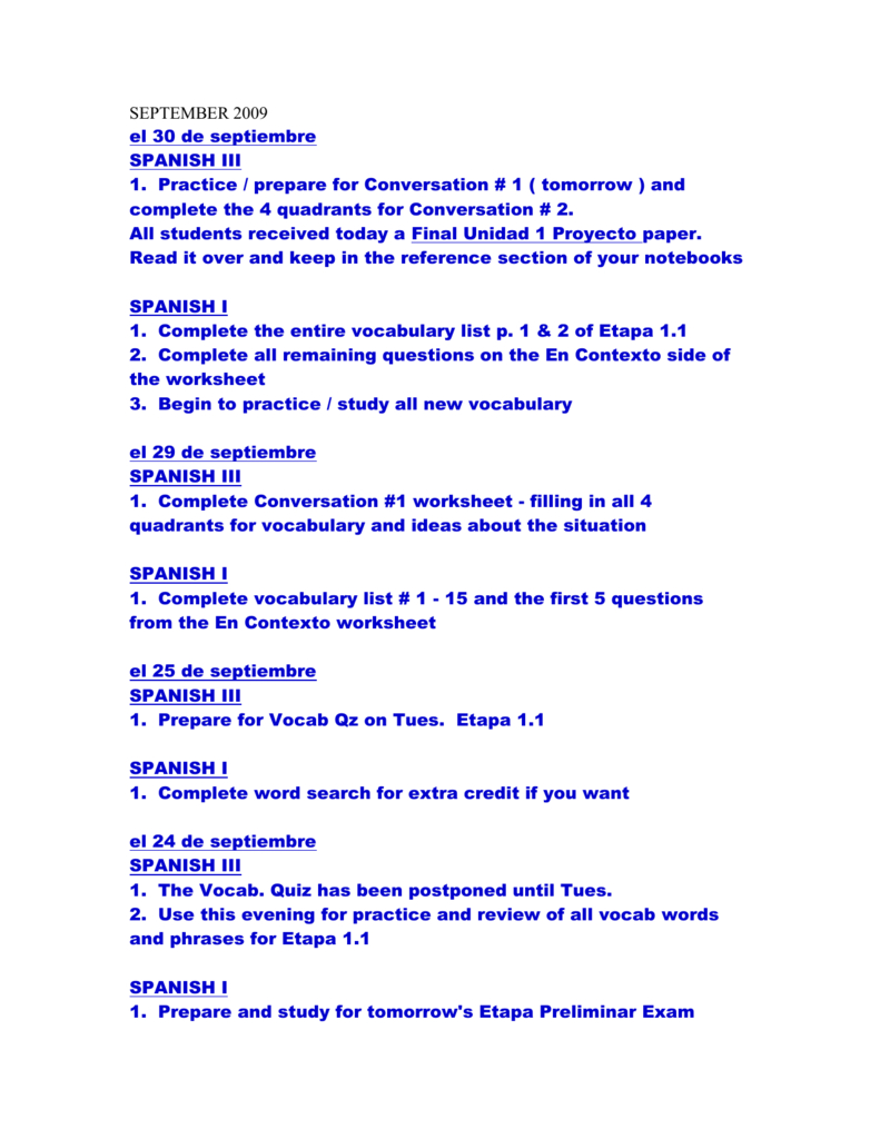 September 2009 Throughout Spanish Dialogue Practice Worksheets
