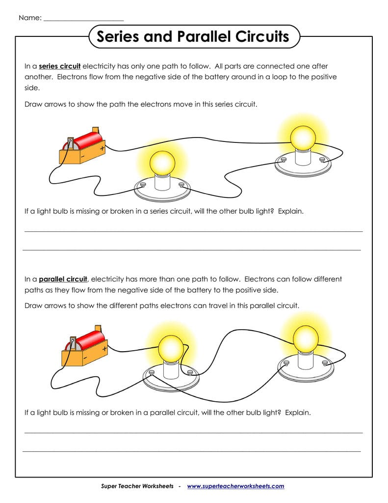 Series And Parallel Circuits Together With Series Parallel Circuit Worksheet