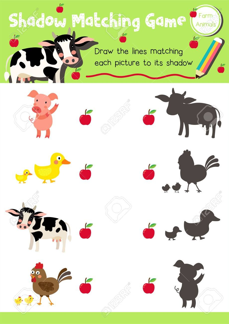 Shadow Matching Game Of Farm Animals For Preschool Kids Activity For Los Animales Printable Worksheets