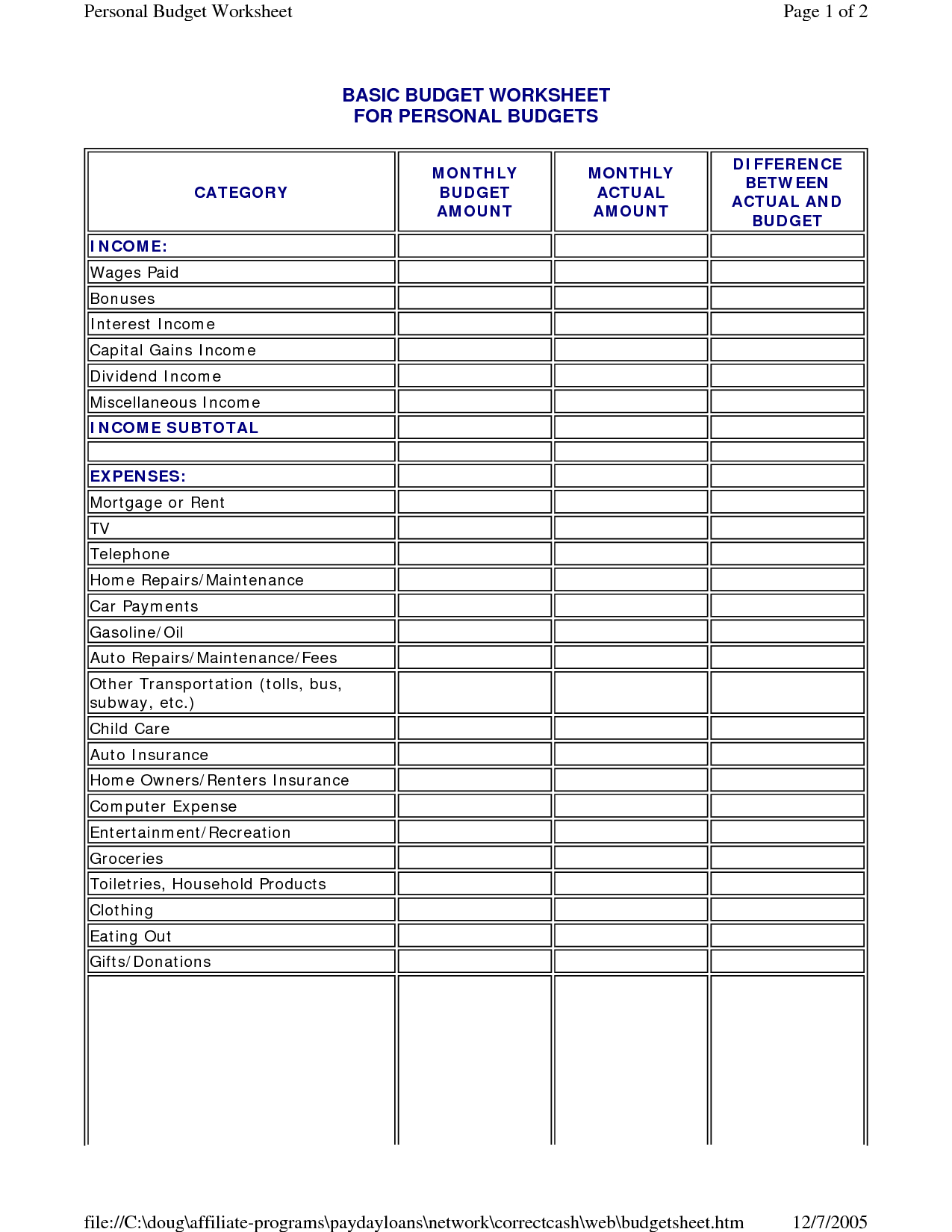 Simple Monthly Budget Spreadsheet Family Template Worksheet For Together With Monthly Budget Worksheet Pdf