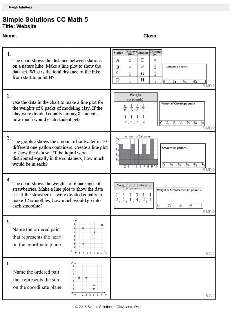 Simple Solutions  Worksheet Generator Pertaining To 7Th Grade Common Core Math Worksheets With Answer Key
