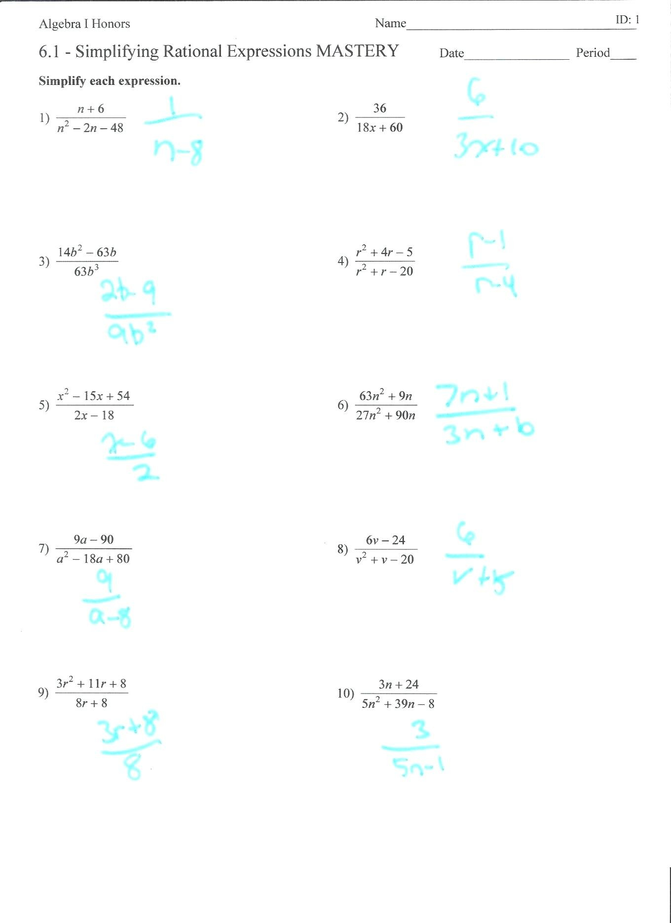 Simplified Rational Expression Math Simplifying Radical Expressions Also Simplify Each Expression Worksheet Answers