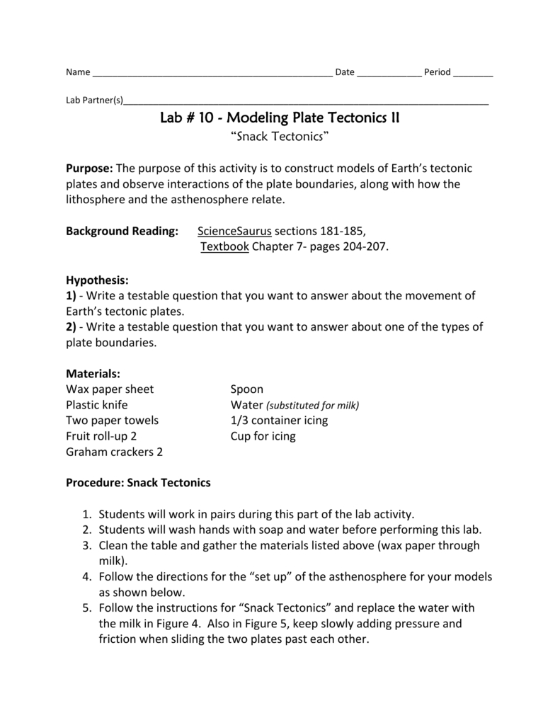 Snack Tectonics Along With Snack Tectonics Lab Worksheet