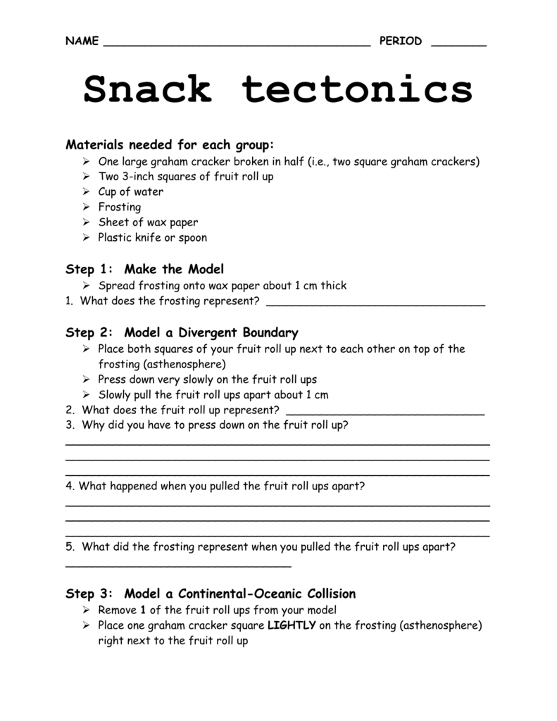 Snack Tectonics Lab Intended For Snack Tectonics Lab Worksheet