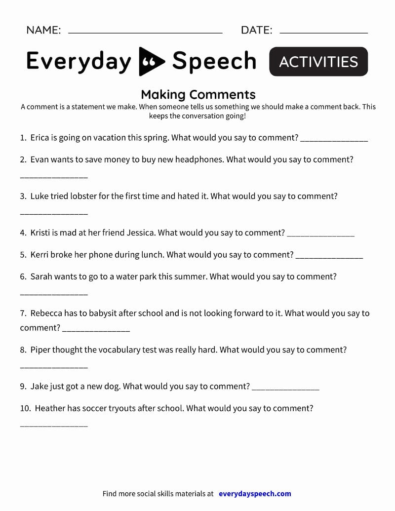 Social Skills Videos  Everyday Speech  Everyday Speech Throughout Social Skills Worksheets For Teens