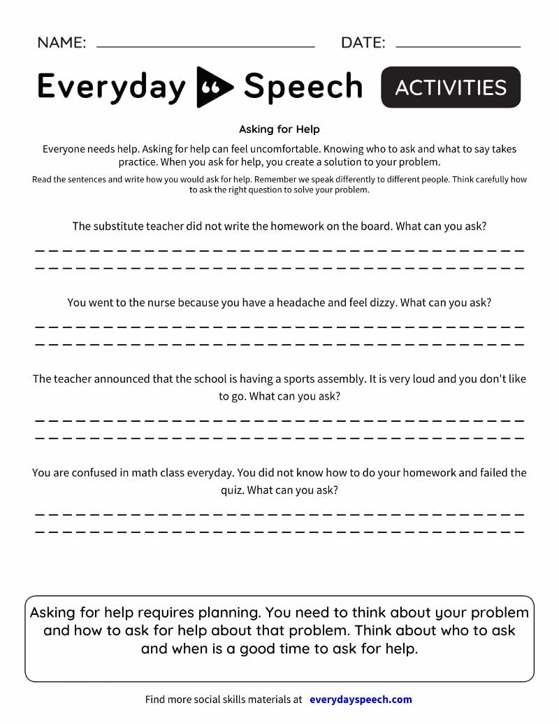 Social Skills Videos  Everyday Speech  Everyday Speech With Social Skills Training Worksheets Adults
