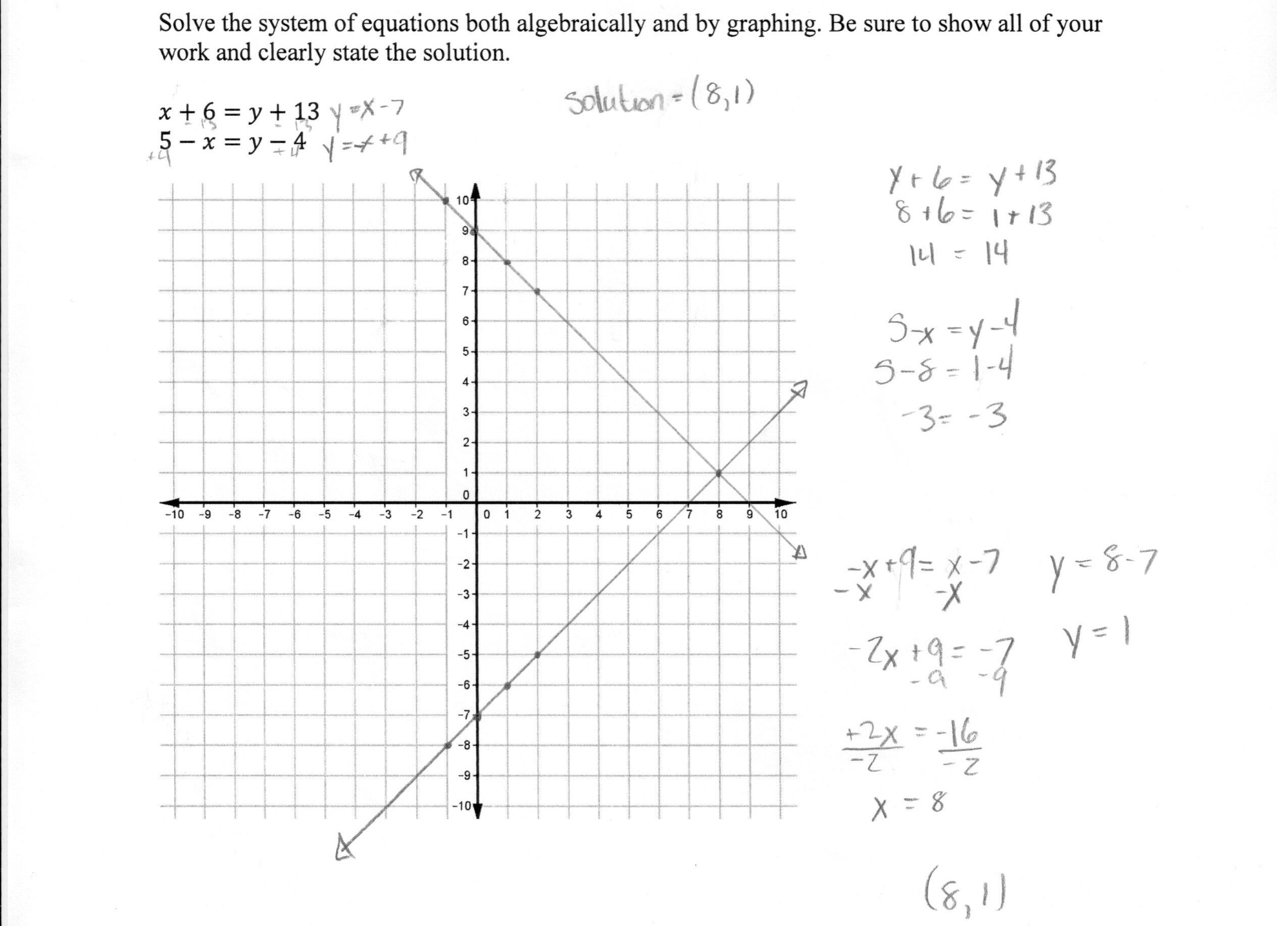 Solving A System Of Equations  2 Students Are Asked To Solve A Within Graphing Systems Of Equations Worksheet Answer Key
