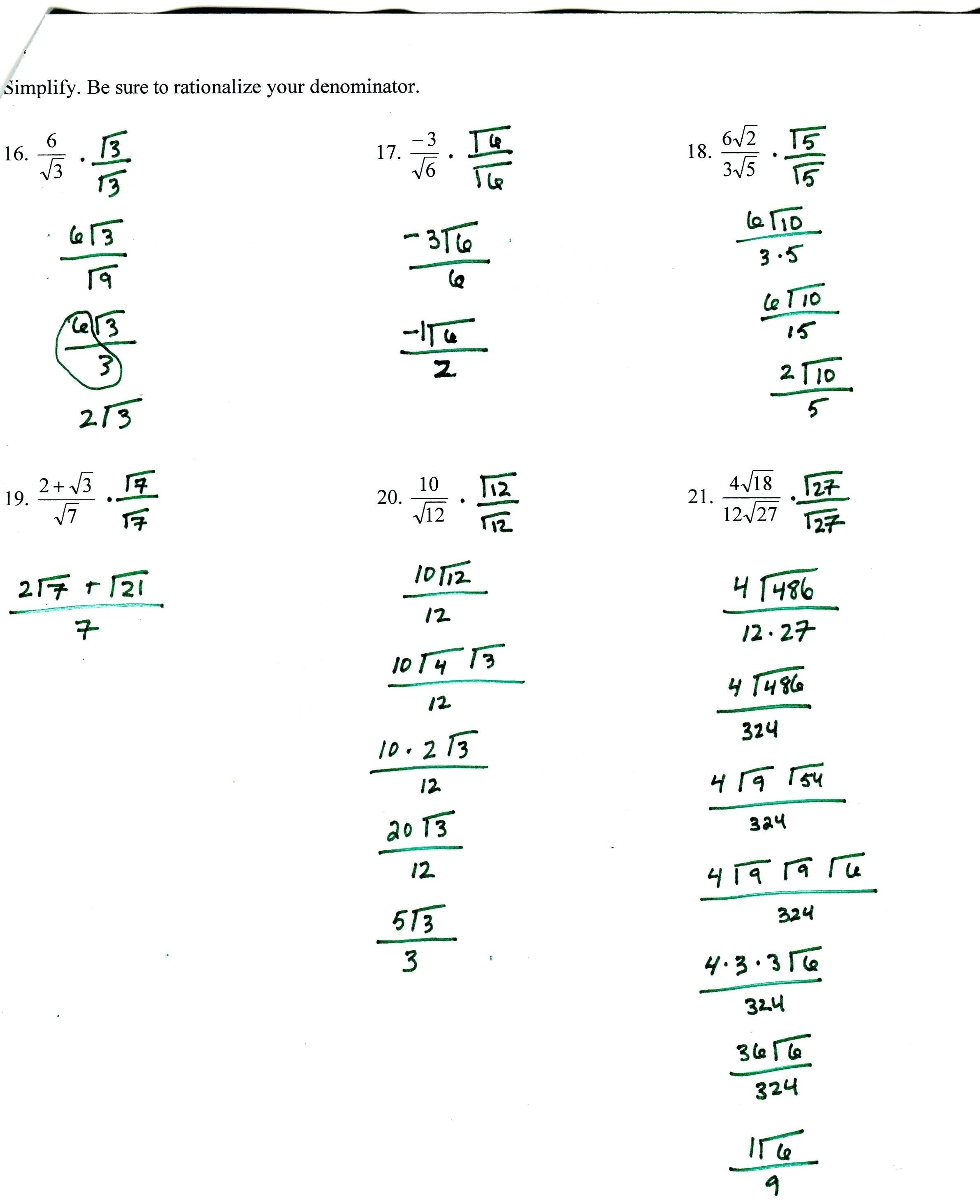 Solving Exponential Equations Algebraically Math Algebra 2 Worksheet Inside Algebra 2 Worksheet Answers