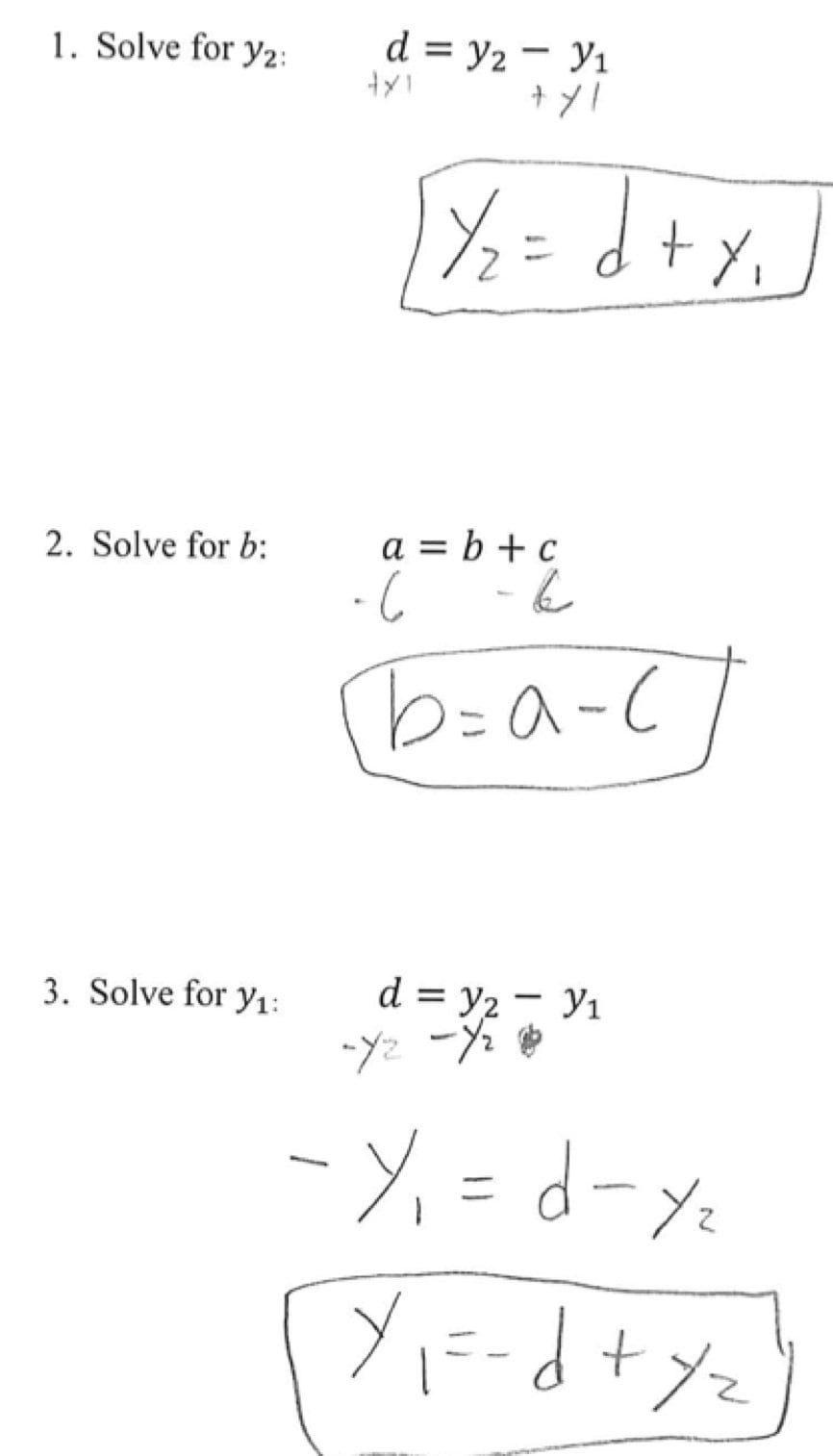 Solving Literal Equations Students Are Given Three Literal Equations Along With Literal Equations Worksheet Answers