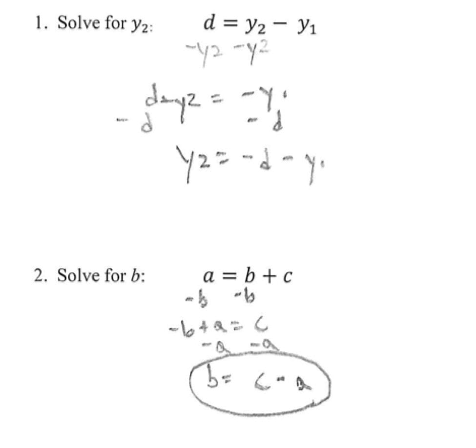 Solving Literal Equations Students Are Given Three Literal Equations For Literal Equations Worksheet Answers