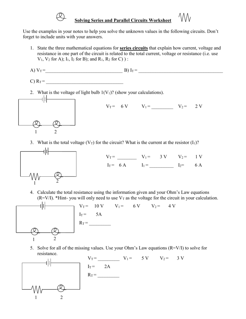 Solving Series And Parallel Circuits Worksheet Throughout Voltage Current And Resistance Worksheet