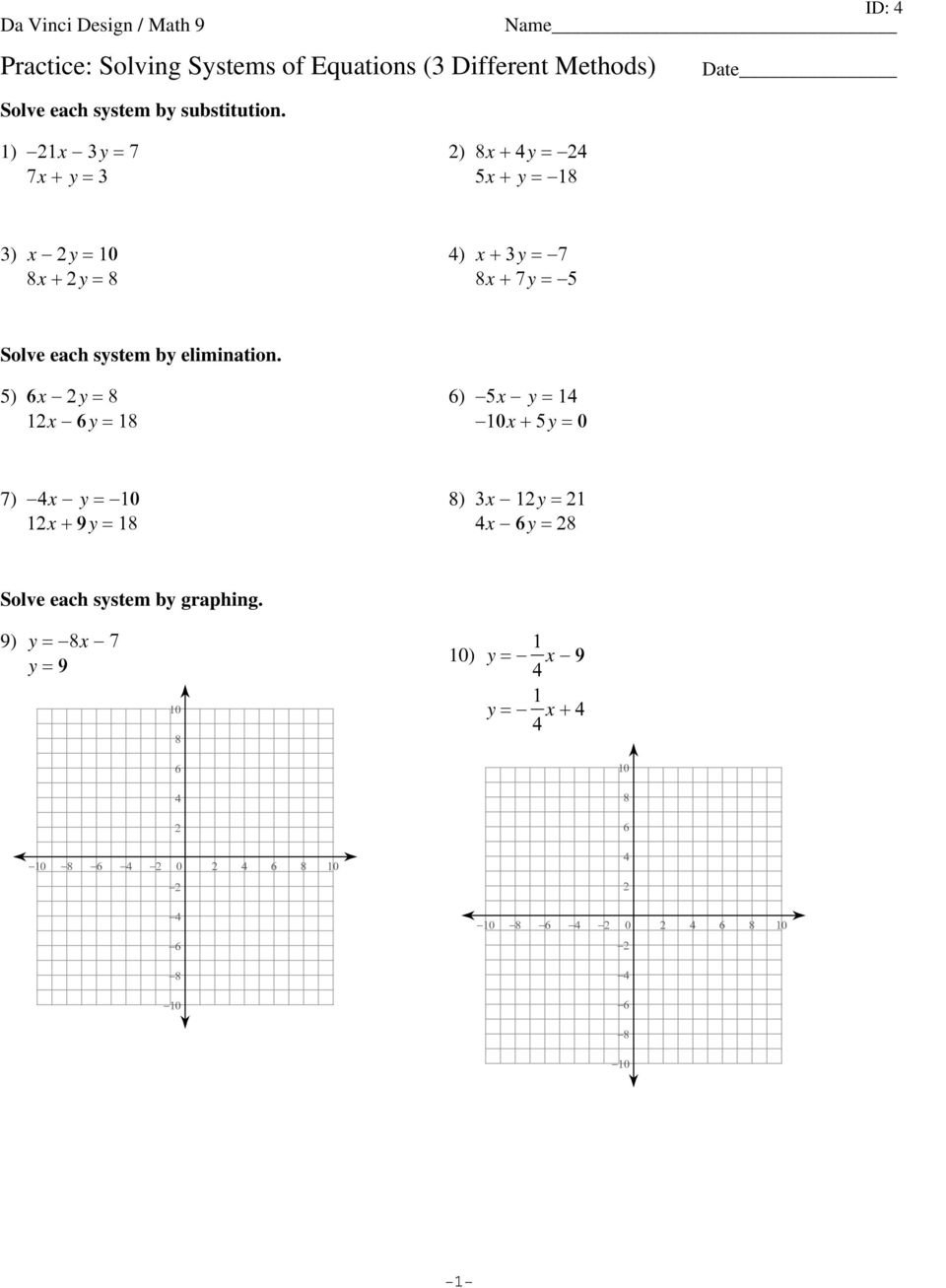 Solving Systems Of Equationselimination Worksheet Pdf Inside Solving Systems Of Equations By Elimination Worksheet Pdf