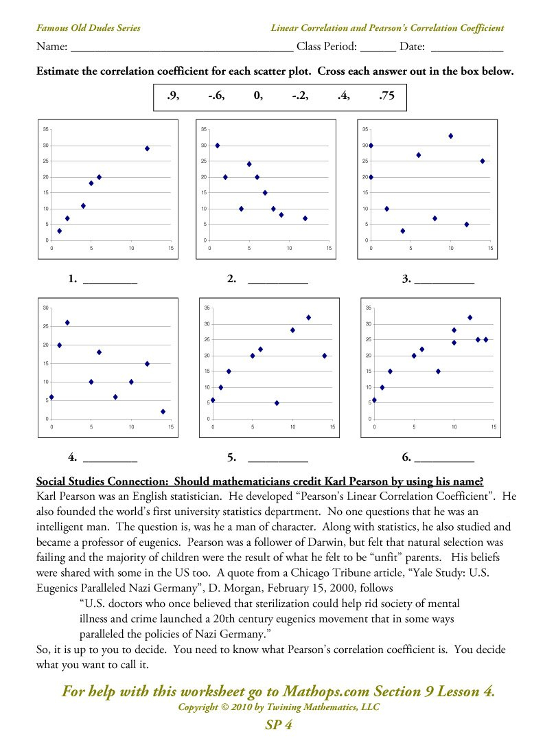 Sp 4 Linear Correlation And Pearson's Correlation Coefficient  Mathops For Linear Regression And Correlation Coefficient Worksheet