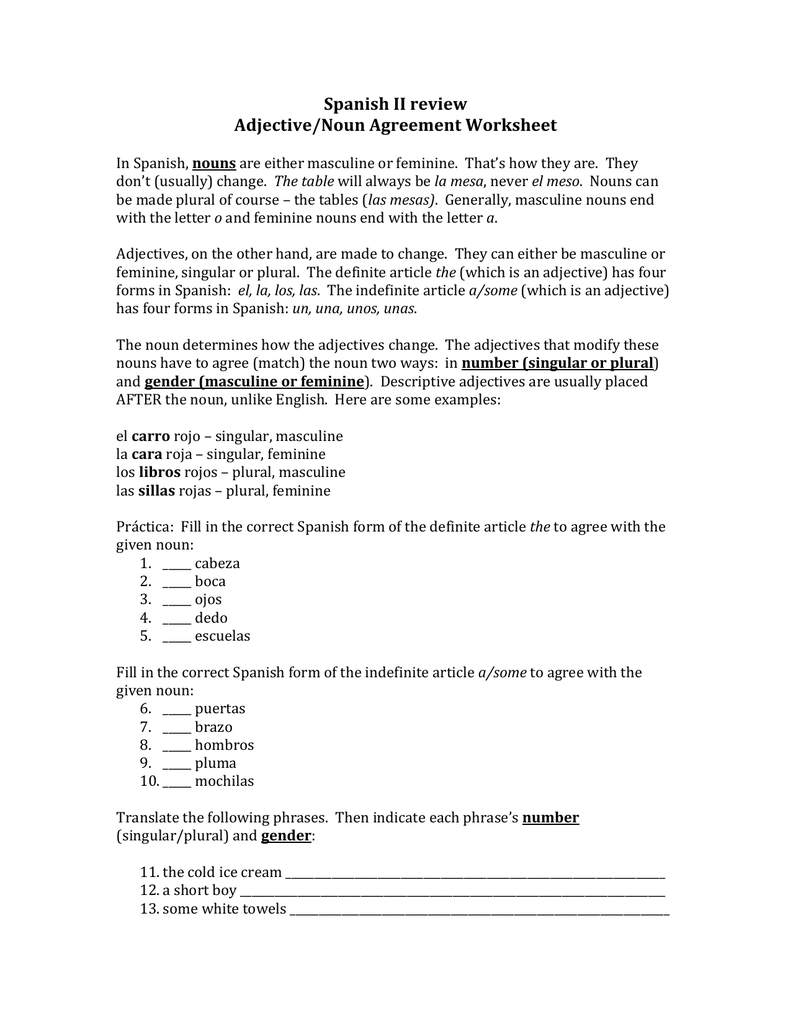 Spanish Ii Review Adjectivenoun Agreement Worksheet Pertaining To The Gender Of Nouns Spanish Worksheet Answers