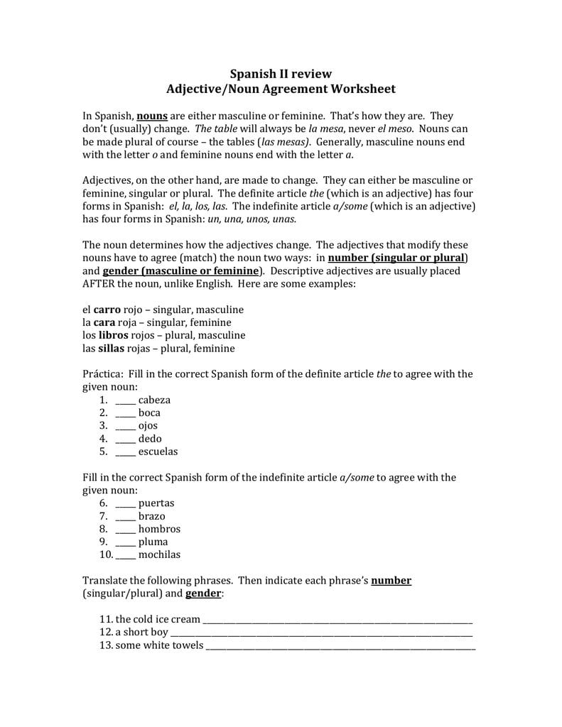 Spanish Ii Review Adjectivenoun Agreement Worksheet Together With Definite And Indefinite Articles Spanish Worksheet