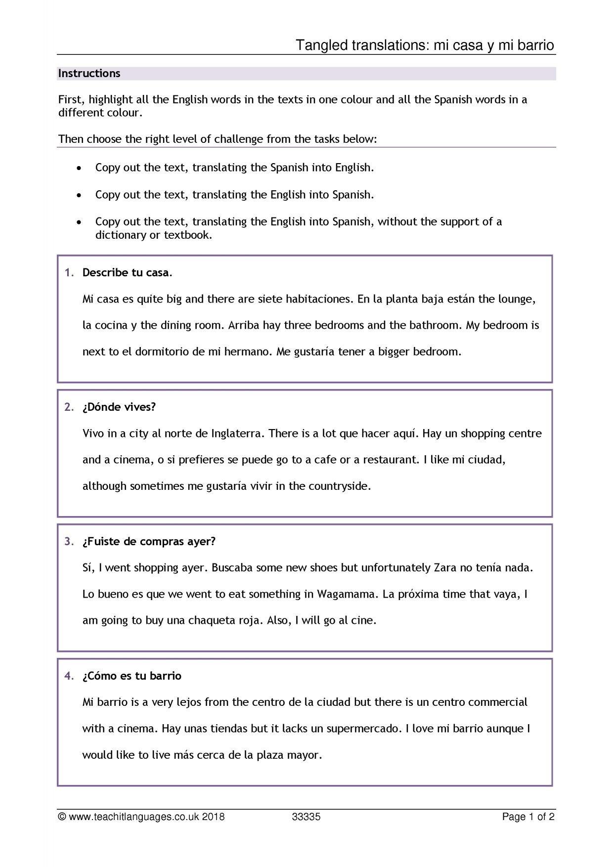 Spanish Language Teaching Resources  Teachit Languages Or Spanish Dialogue Practice Worksheets